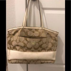 COACH Signature Stripe Diaper Bag